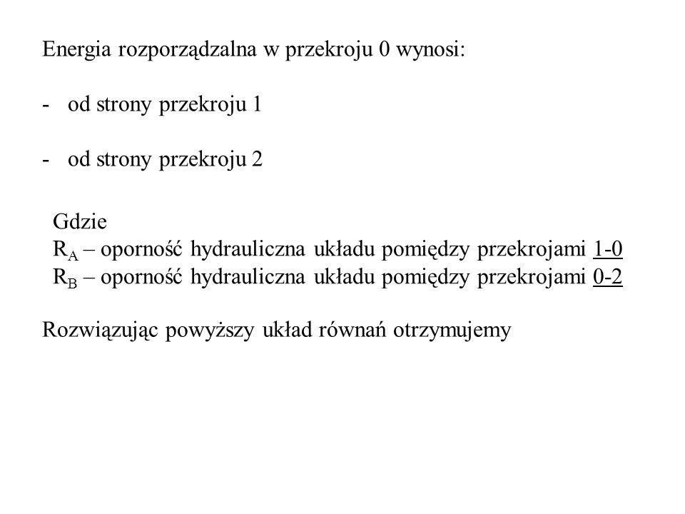 Energia rozporządzalna w przekroju 0 wynosi: