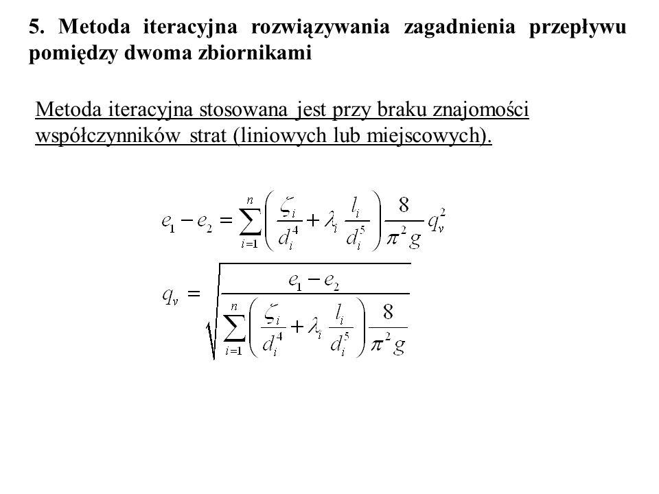 5. Metoda iteracyjna rozwiązywania zagadnienia przepływu pomiędzy dwoma zbiornikami