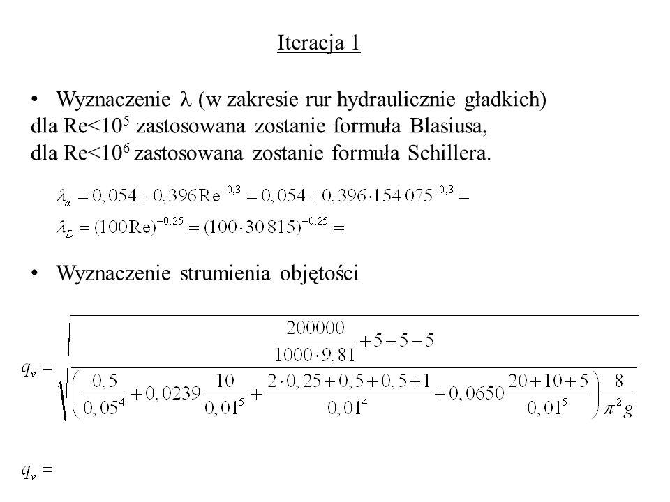 Iteracja 1 Wyznaczenie  (w zakresie rur hydraulicznie gładkich) dla Re<105 zastosowana zostanie formuła Blasiusa,