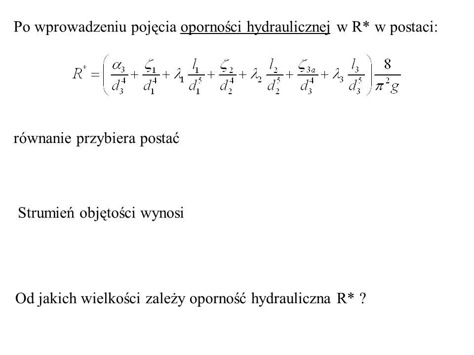 Po wprowadzeniu pojęcia oporności hydraulicznej w R* w postaci: