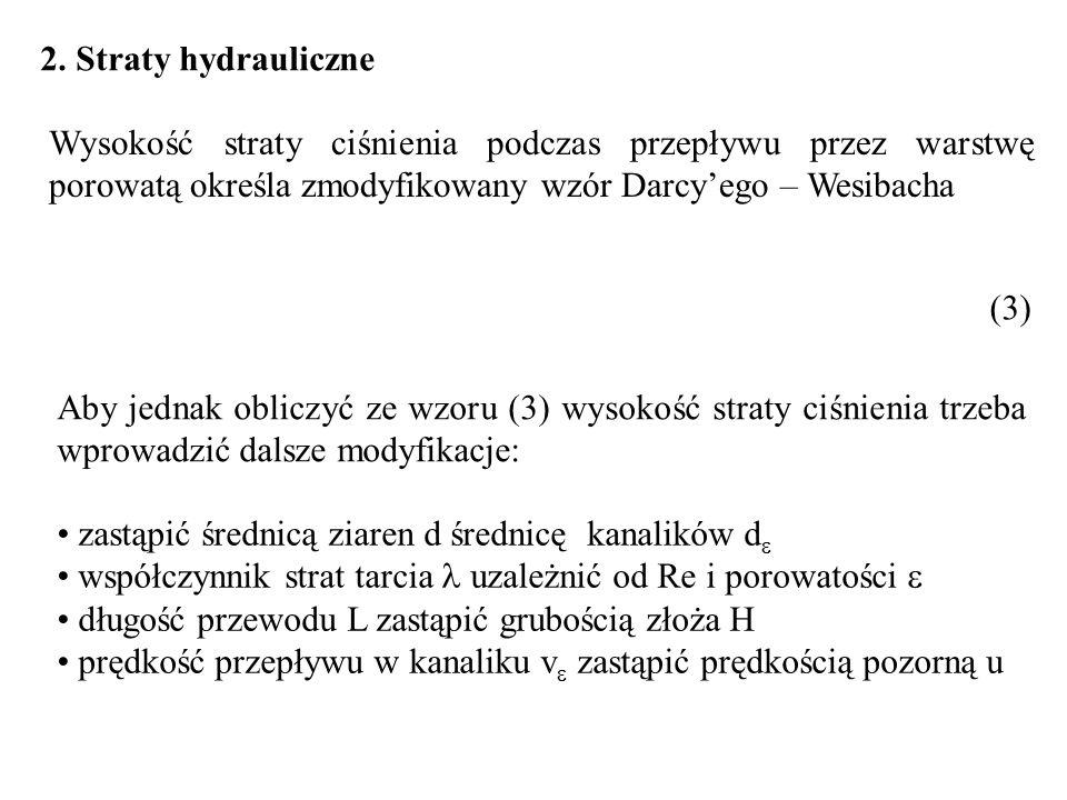 2. Straty hydrauliczne Wysokość straty ciśnienia podczas przepływu przez warstwę porowatą określa zmodyfikowany wzór Darcy'ego – Wesibacha.
