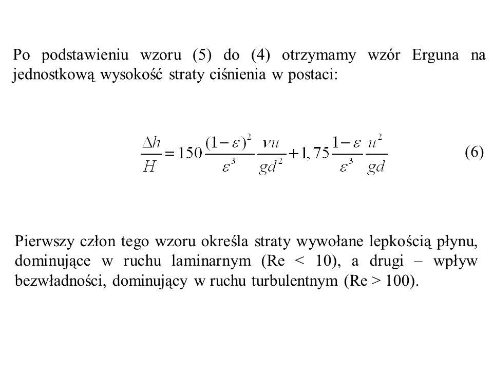 Po podstawieniu wzoru (5) do (4) otrzymamy wzór Erguna na jednostkową wysokość straty ciśnienia w postaci: