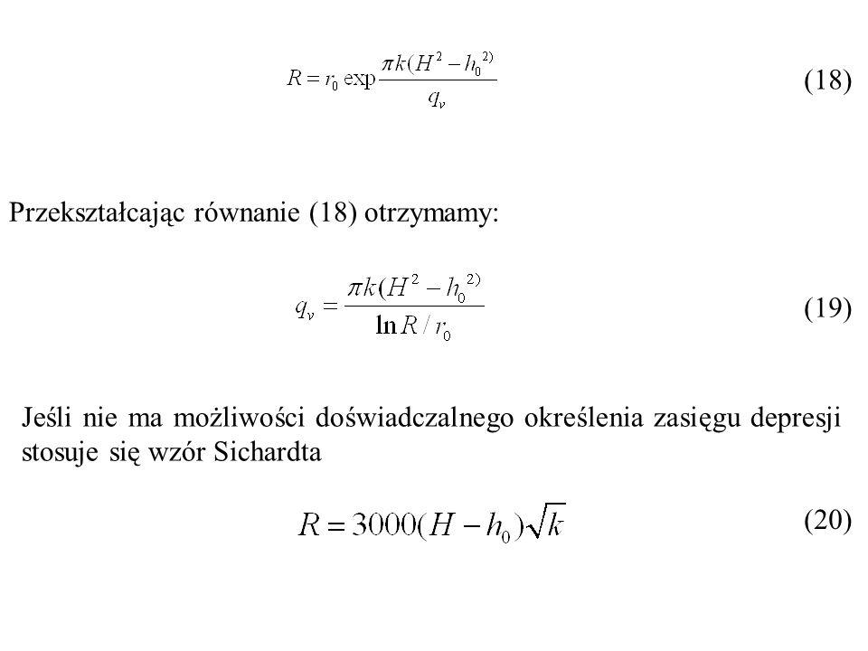 (18) Przekształcając równanie (18) otrzymamy: (19) Jeśli nie ma możliwości doświadczalnego określenia zasięgu depresji stosuje się wzór Sichardta.