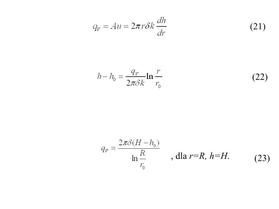 (21) (22) , dla r=R, h=H. (23)