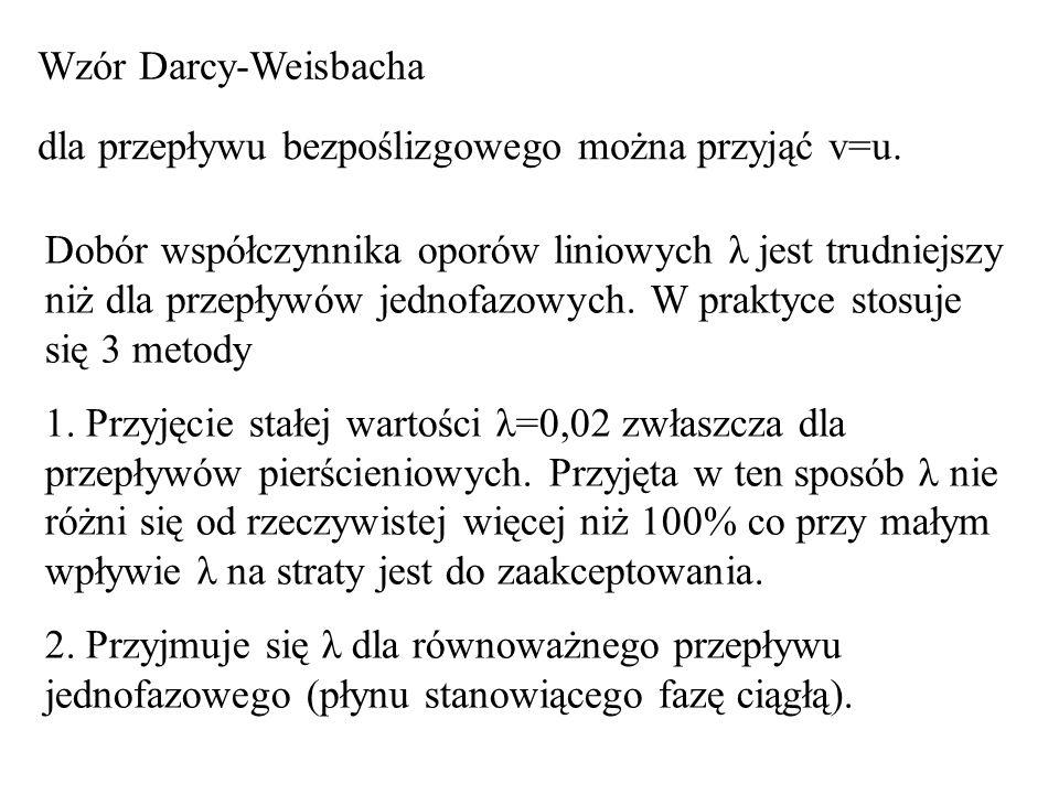 Wzór Darcy-Weisbacha dla przepływu bezpoślizgowego można przyjąć v=u.