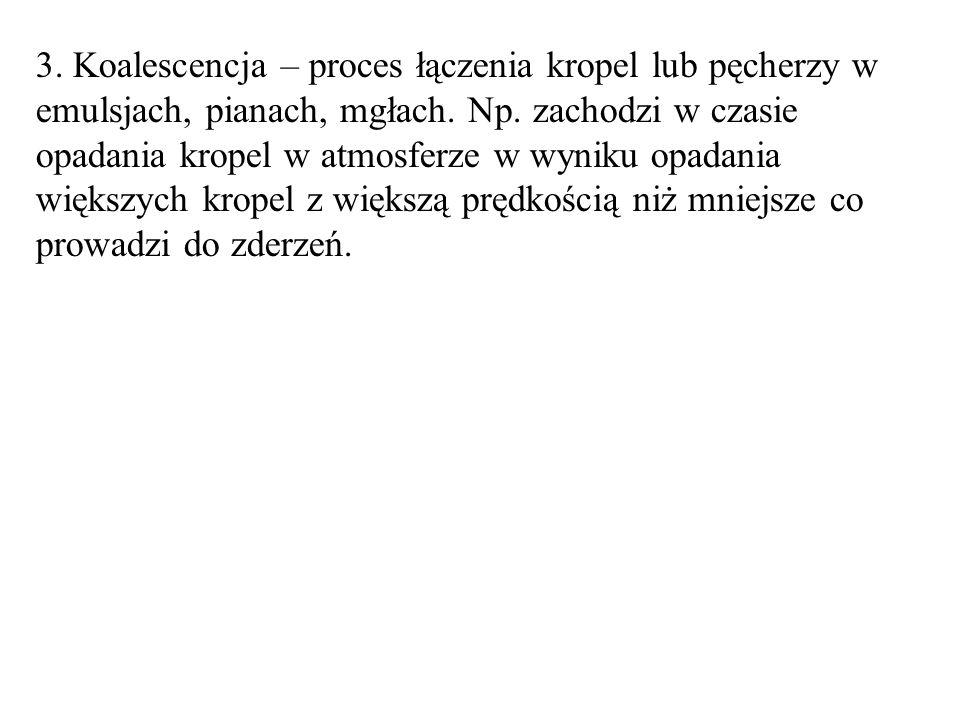 3. Koalescencja – proces łączenia kropel lub pęcherzy w emulsjach, pianach, mgłach.