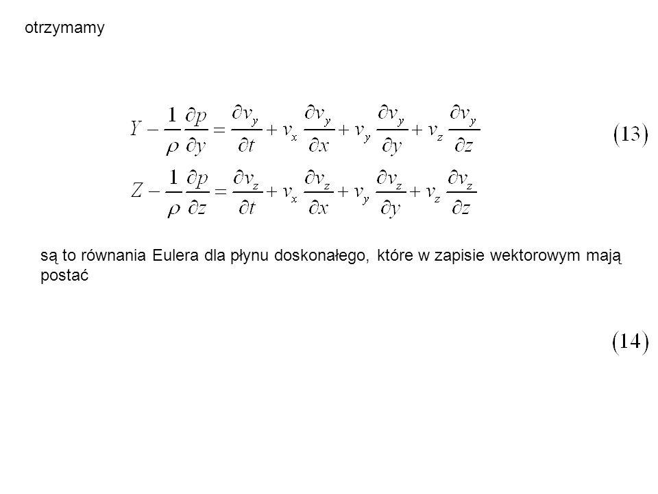 otrzymamy są to równania Eulera dla płynu doskonałego, które w zapisie wektorowym mają postać