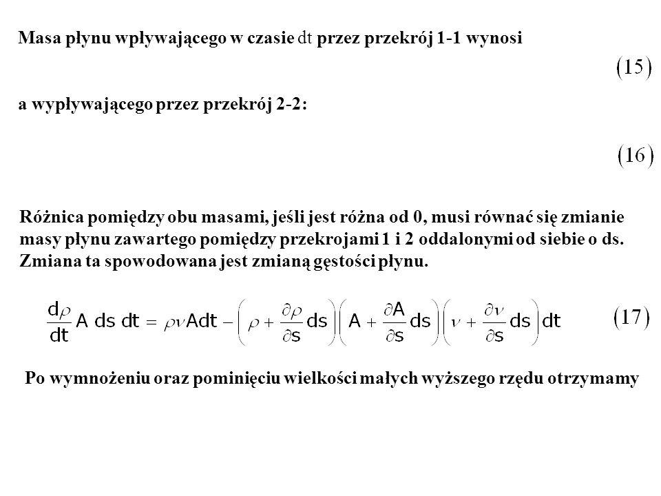Masa płynu wpływającego w czasie dt przez przekrój 1-1 wynosi