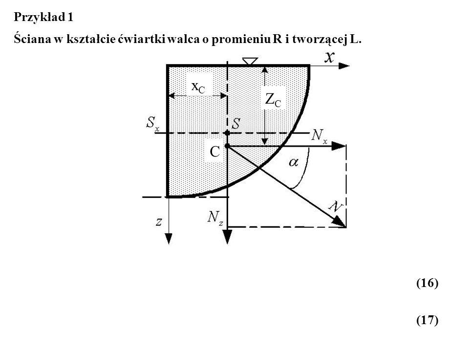 Przykład 1 Ściana w kształcie ćwiartki walca o promieniu R i tworzącej L. xC ZC C (16) (17)