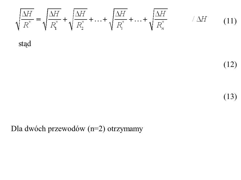 (11) stąd (12) (13) Dla dwóch przewodów (n=2) otrzymamy