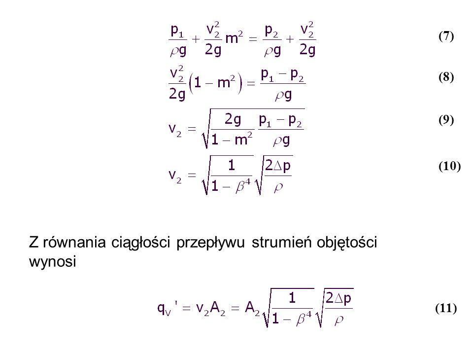 Z równania ciągłości przepływu strumień objętości wynosi