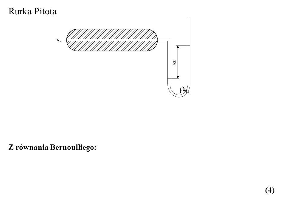 Rurka Pitota m Z równania Bernoulliego: (4)