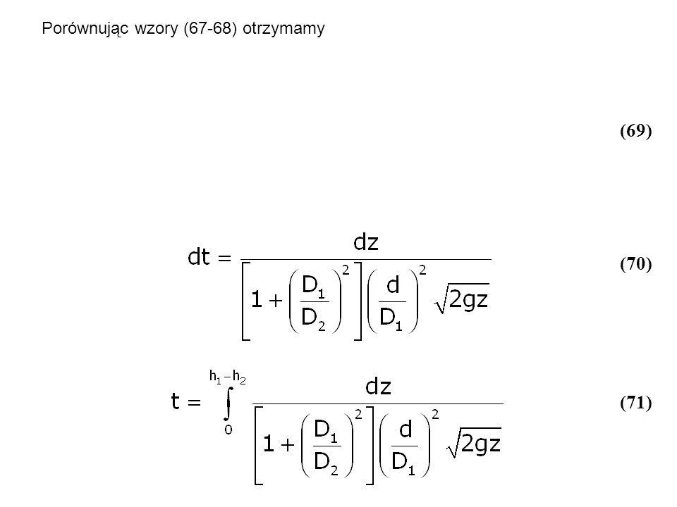 Porównując wzory (67-68) otrzymamy