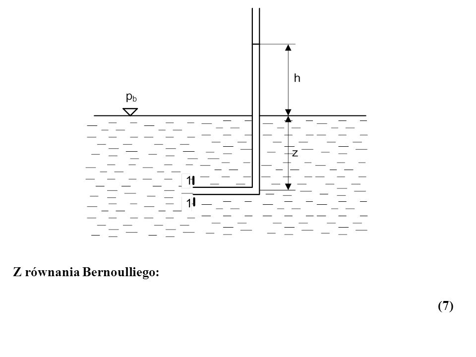 Z równania Bernoulliego: