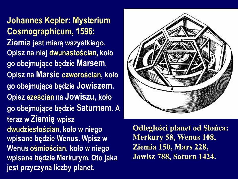 Johannes Kepler: Mysterium Cosmographicum, 1596: Ziemia jest miarą wszystkiego. Opisz na niej dwunastościan, koło go obejmujące będzie Marsem. Opisz na Marsie czworościan, koło go obejmujące będzie Jowiszem. Opisz sześcian na Jowiszu, koło go obejmujące będzie Saturnem. A teraz w Ziemię wpisz dwudziestościan, koło w niego wpisane będzie Wenus. Wpisz w Wenus ośmiościan, koło w niego wpisane będzie Merkurym. Oto jaka jest przyczyna liczby planet.