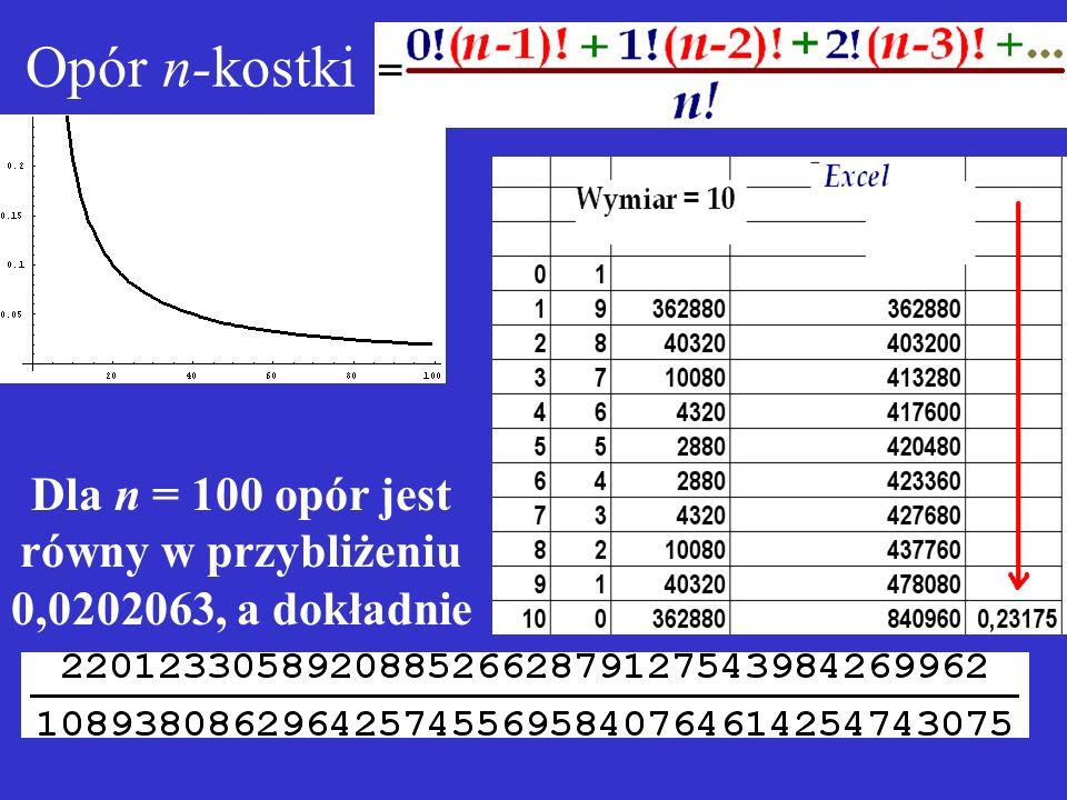 Dla n = 100 opór jest równy w przybliżeniu 0,0202063, a dokładnie