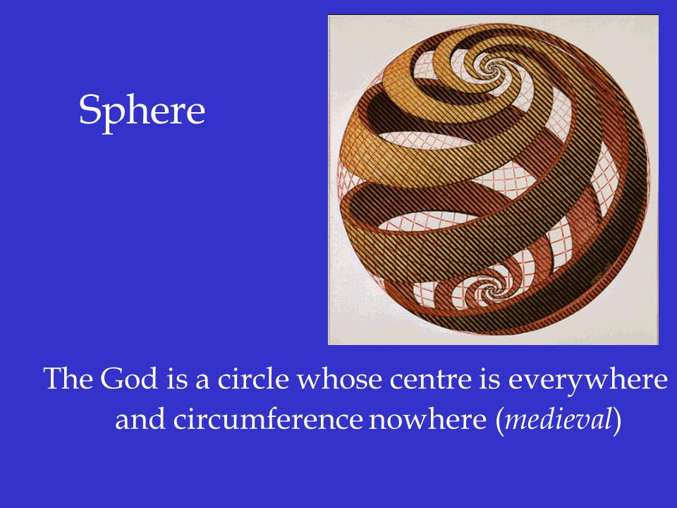 Sphere The God is a circle whose centre is everywhere and circumference nowhere (medieval)