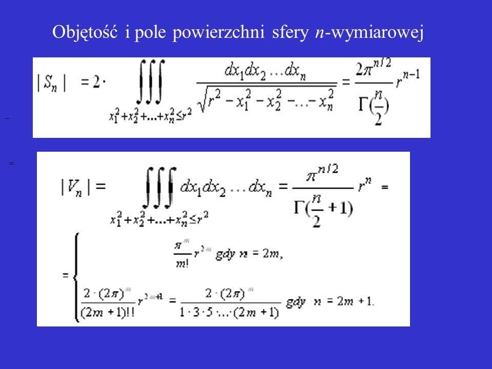 Objętość i pole powierzchni sfery n-wymiarowej