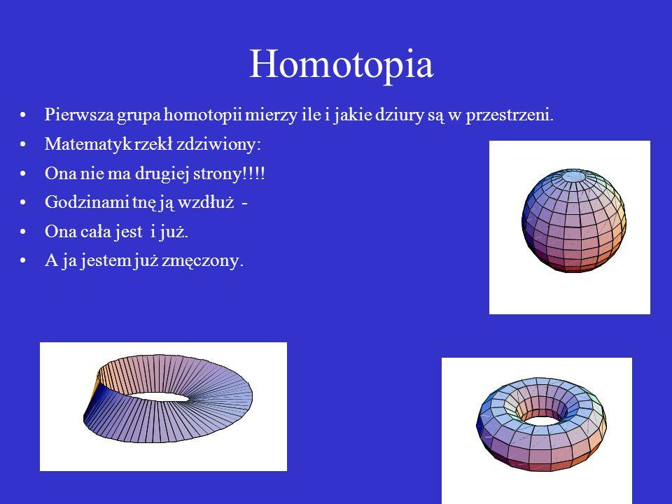 Homotopia Pierwsza grupa homotopii mierzy ile i jakie dziury są w przestrzeni. Matematyk rzekł zdziwiony:
