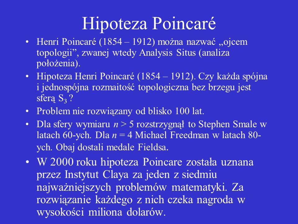 """Hipoteza Poincaré Henri Poincaré (1854 – 1912) można nazwać """"ojcem topologii , zwanej wtedy Analysis Situs (analiza położenia)."""