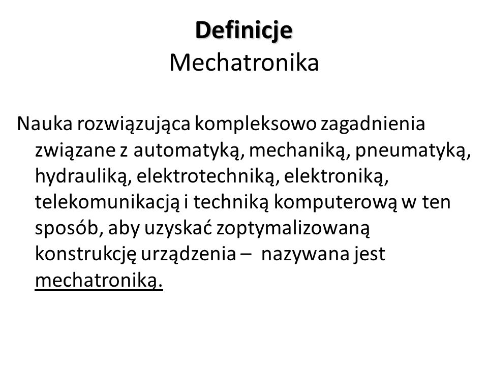 Definicje Mechatronika