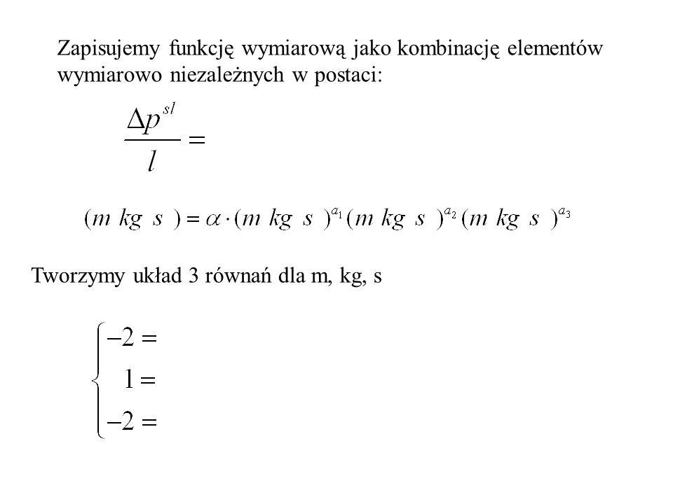 Zapisujemy funkcję wymiarową jako kombinację elementów wymiarowo niezależnych w postaci: