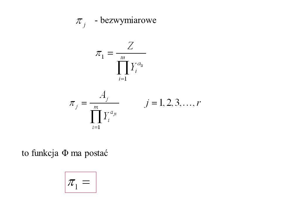 - bezwymiarowe to funkcja Φ ma postać