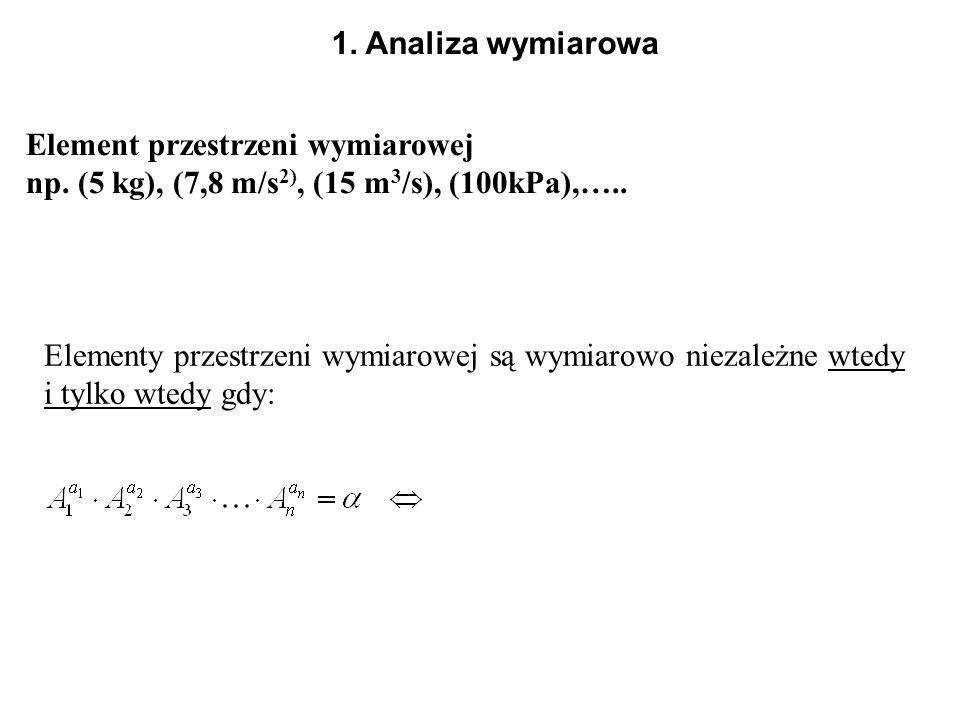 1. Analiza wymiarowa Element przestrzeni wymiarowej. np. (5 kg), (7,8 m/s2), (15 m3/s), (100kPa),…..