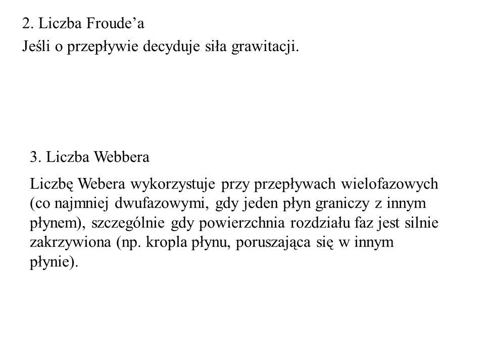 2. Liczba Froude'a Jeśli o przepływie decyduje siła grawitacji. 3. Liczba Webbera.