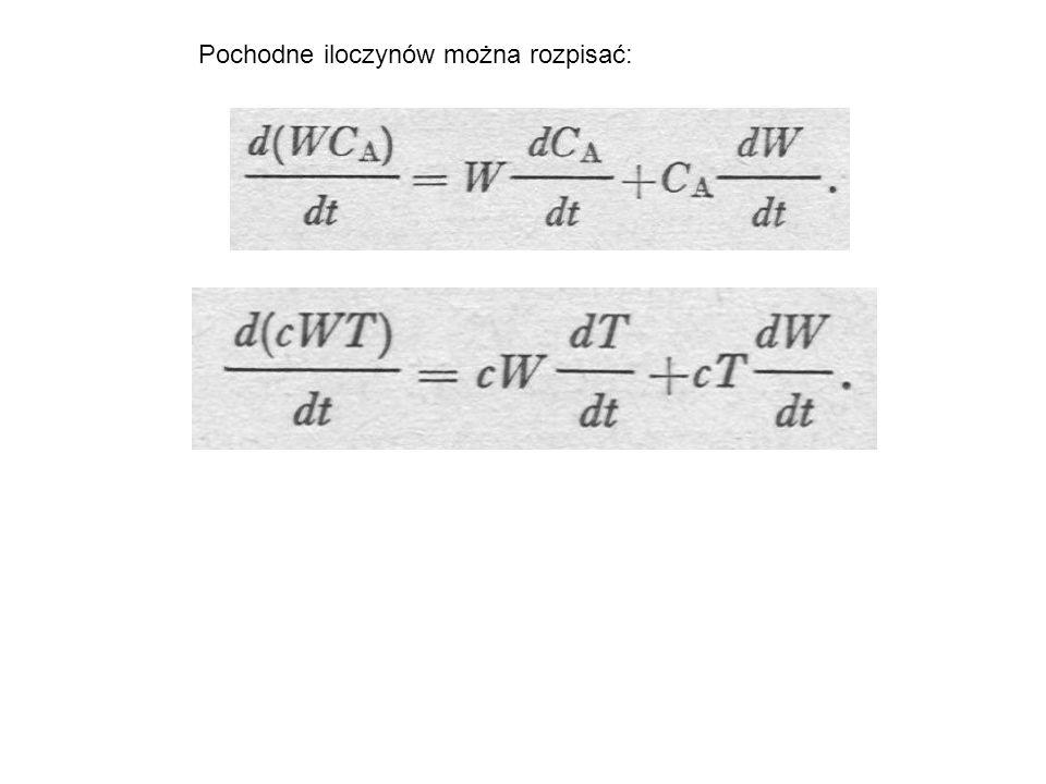 Pochodne iloczynów można rozpisać: