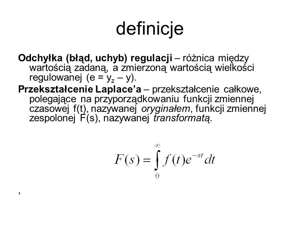 definicje Odchyłka (błąd, uchyb) regulacji – różnica między wartością zadaną, a zmierzoną wartością wielkości regulowanej (e = yz – y).