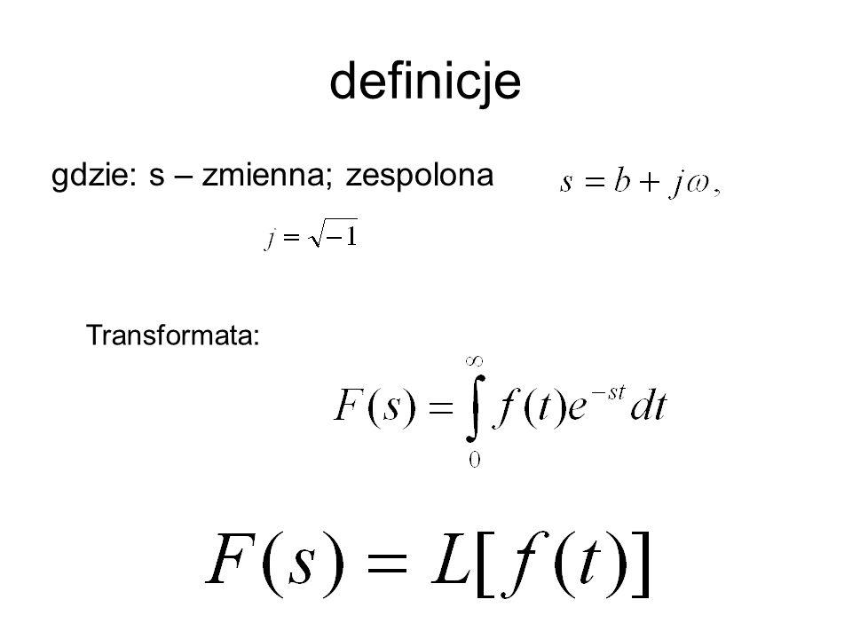 definicje gdzie: s – zmienna; zespolona Transformata: