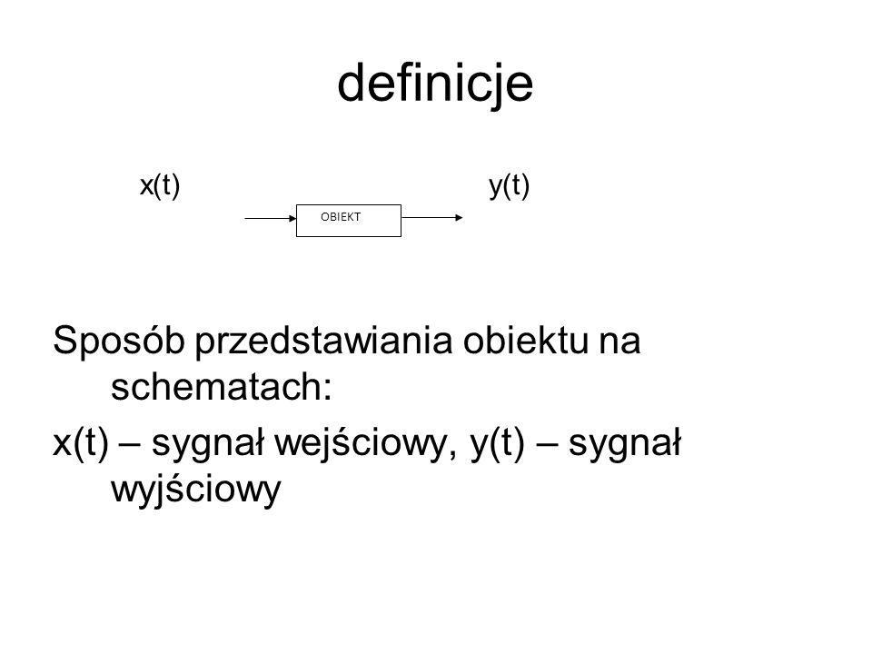 definicje x(t) y(t) Sposób przedstawiania obiektu na schematach: