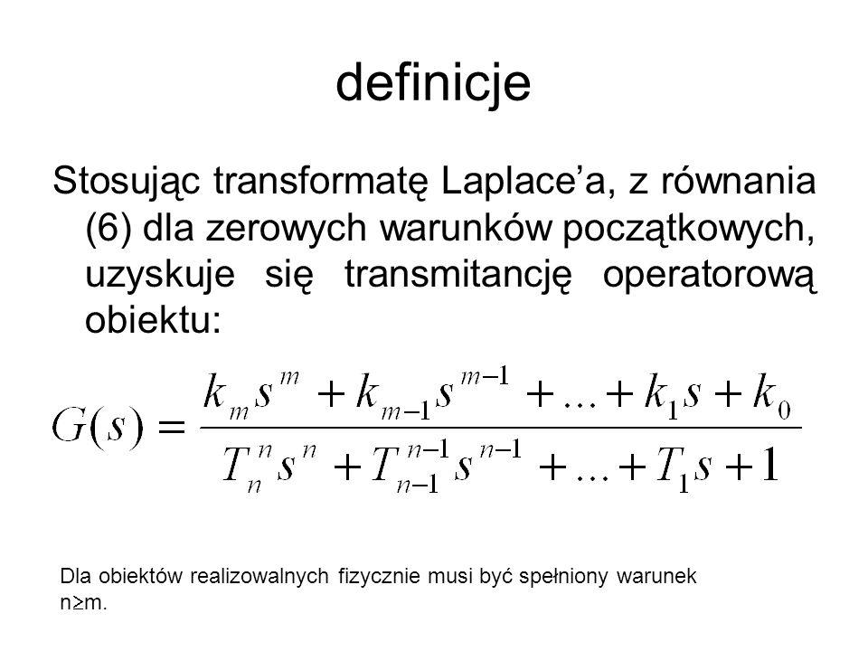 definicje Stosując transformatę Laplace'a, z równania (6) dla zerowych warunków początkowych, uzyskuje się transmitancję operatorową obiektu: