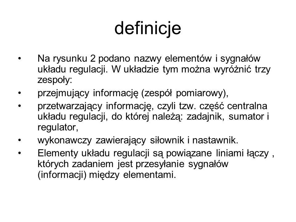definicje Na rysunku 2 podano nazwy elementów i sygnałów układu regulacji. W układzie tym można wyróżnić trzy zespoły: