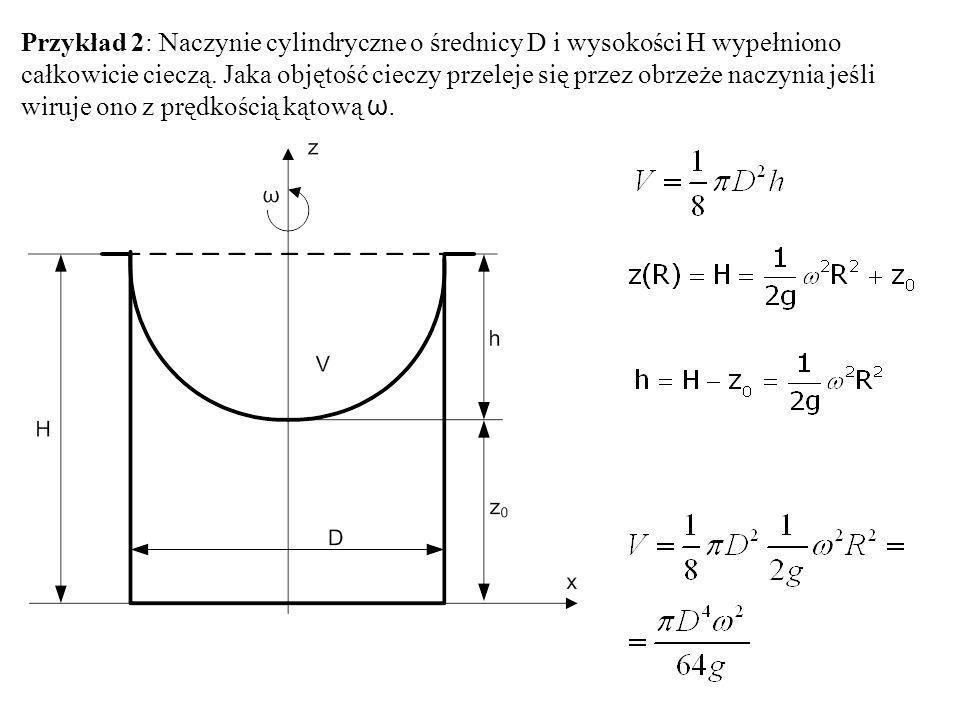 Przykład 2: Naczynie cylindryczne o średnicy D i wysokości H wypełniono całkowicie cieczą.