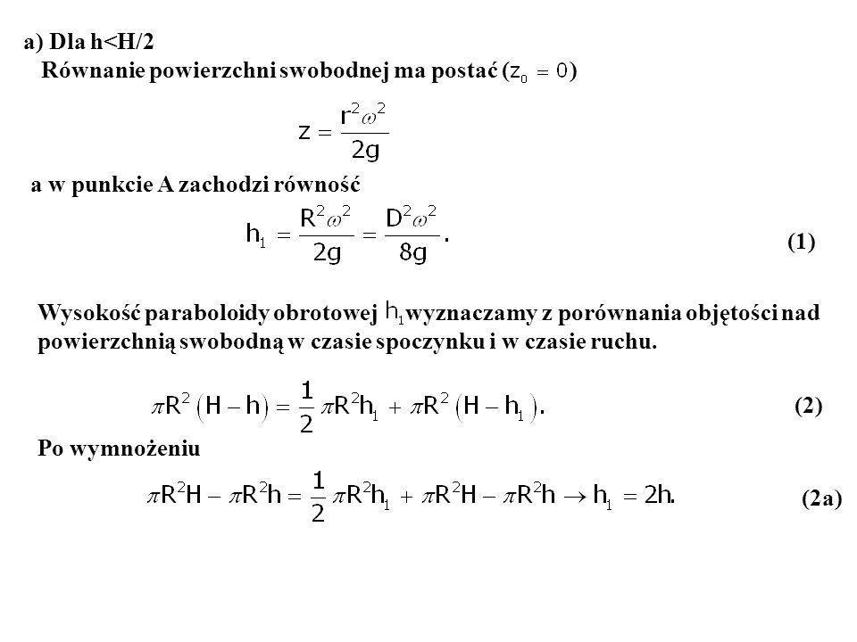a) Dla h<H/2 Równanie powierzchni swobodnej ma postać ( ) a w punkcie A zachodzi równość.