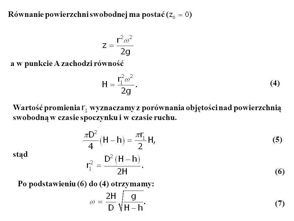 Równanie powierzchni swobodnej ma postać ( )