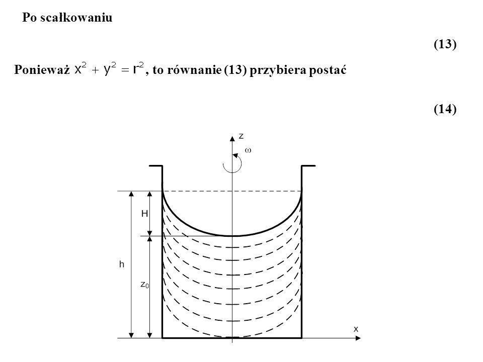 Po scałkowaniu (13) Ponieważ , to równanie (13) przybiera postać (14)