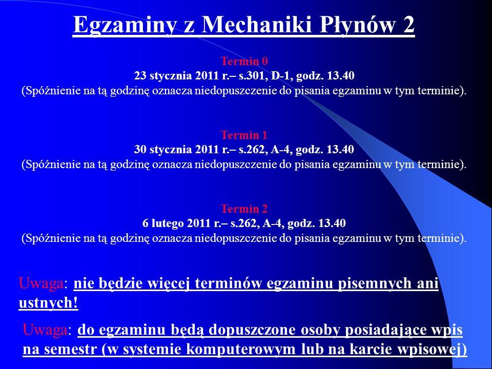 Egzaminy z Mechaniki Płynów 2