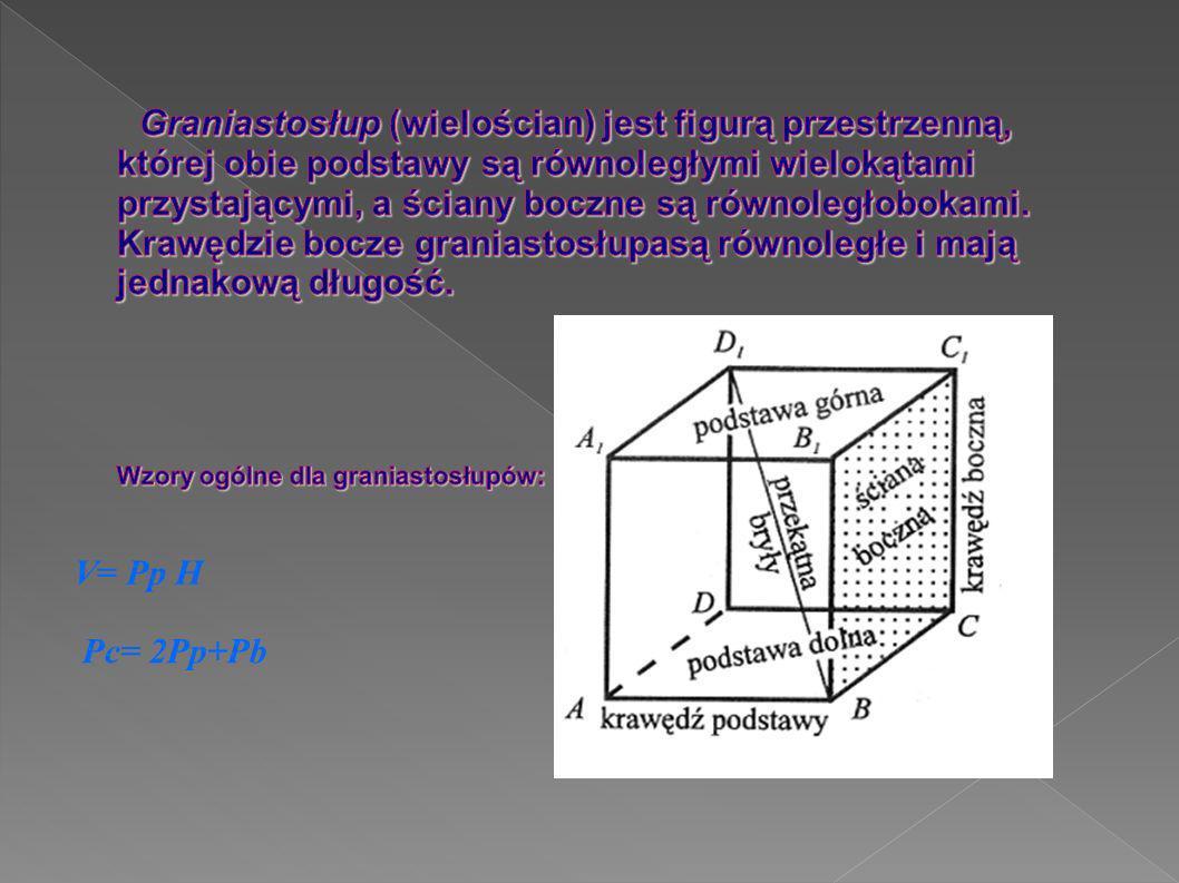 Graniastosłup (wielościan) jest figurą przestrzenną, której obie podstawy są równoległymi wielokątami przystającymi, a ściany boczne są równoległobokami. Krawędzie bocze graniastosłupasą równoległe i mają jednakową długość. Wzory ogólne dla graniastosłupów: