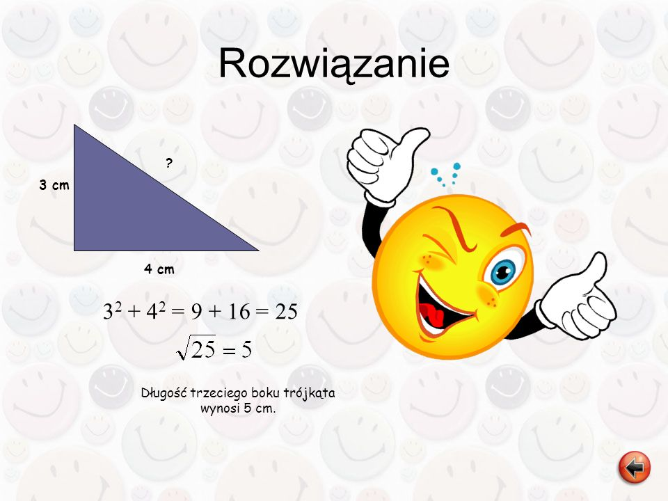 Długość trzeciego boku trójkąta wynosi 5 cm.