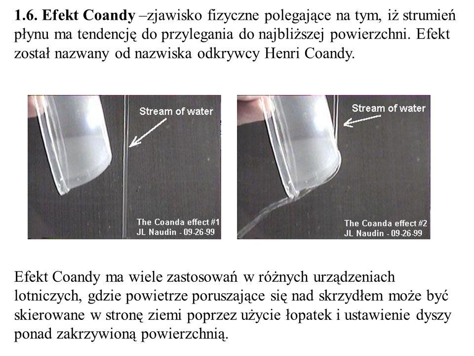 1.6. Efekt Coandy –zjawisko fizyczne polegające na tym, iż strumień płynu ma tendencję do przylegania do najbliższej powierzchni. Efekt został nazwany od nazwiska odkrywcy Henri Coandy.