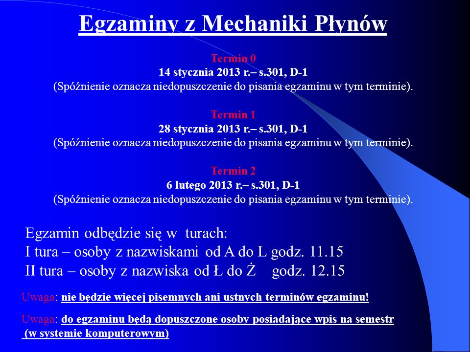 Egzaminy z Mechaniki Płynów