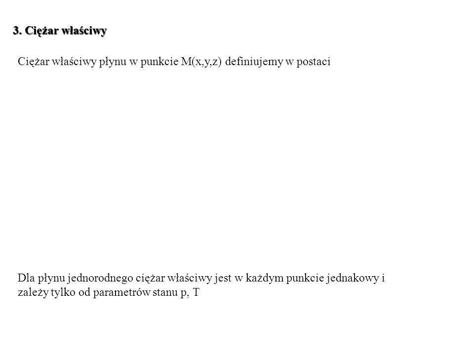 3. Ciężar właściwy Ciężar właściwy płynu w punkcie M(x,y,z) definiujemy w postaci.