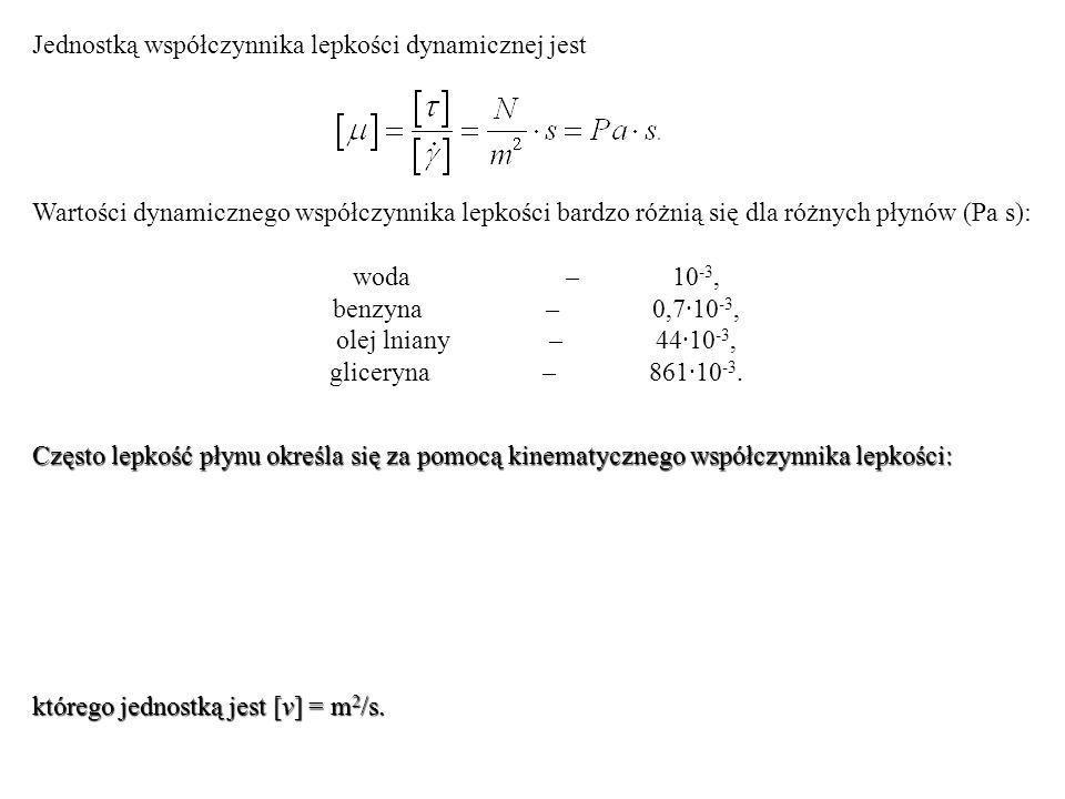 Jednostką współczynnika lepkości dynamicznej jest