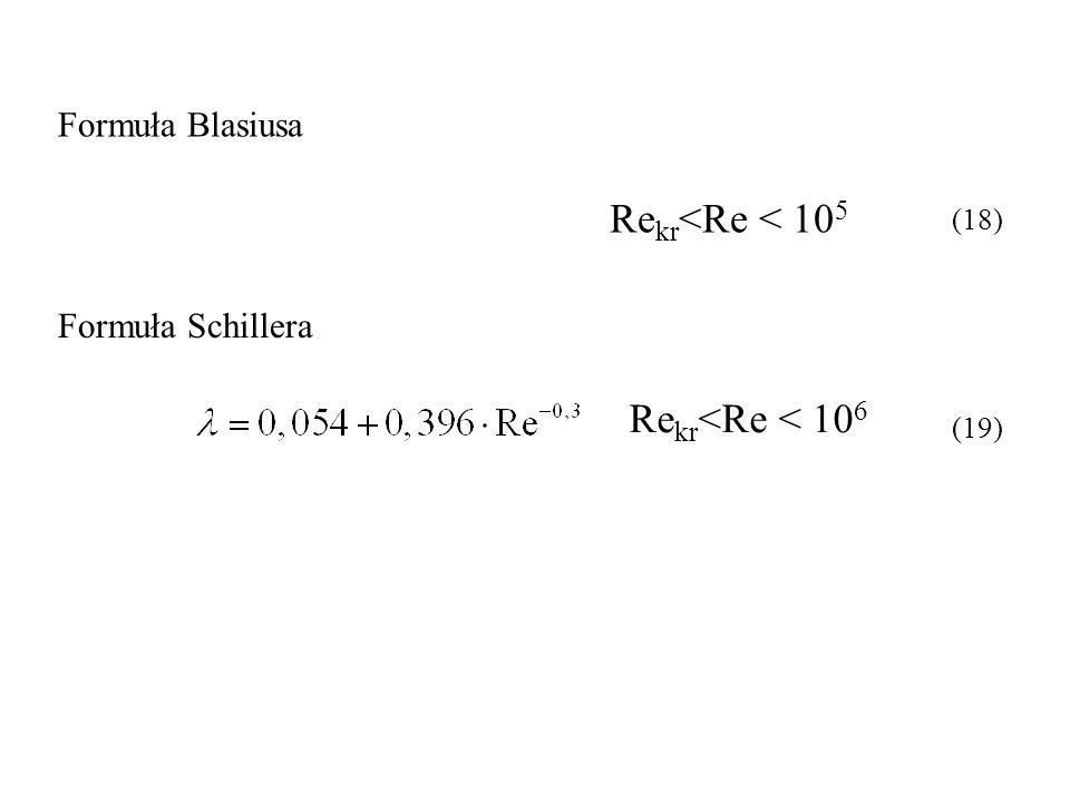 Rekr<Re < 105 Rekr<Re < 106 Formuła Blasiusa