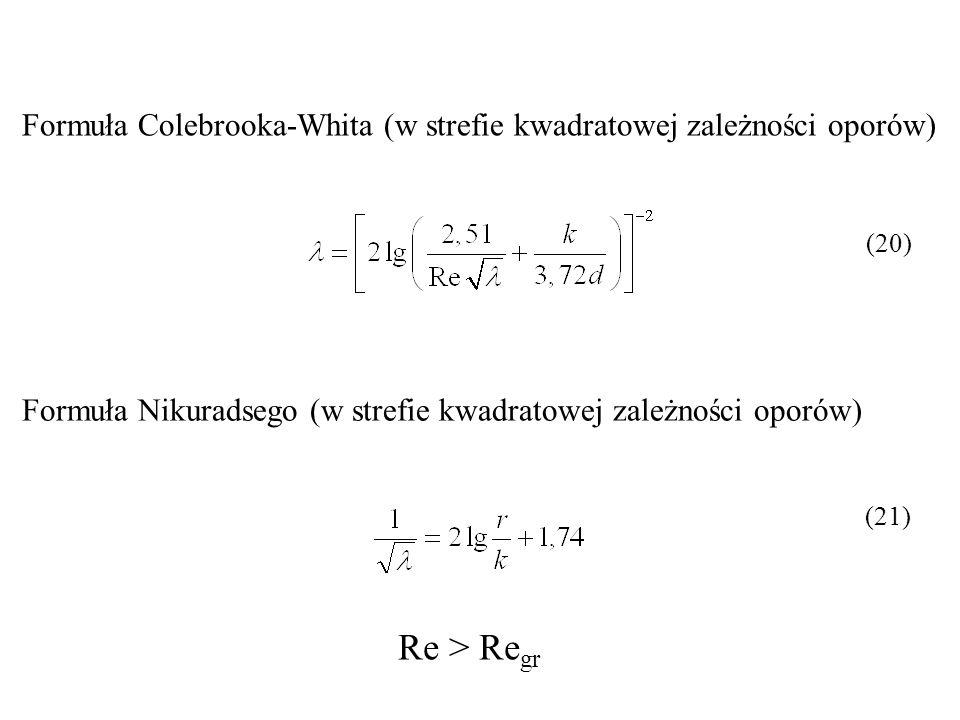 Formuła Colebrooka-Whita (w strefie kwadratowej zależności oporów)