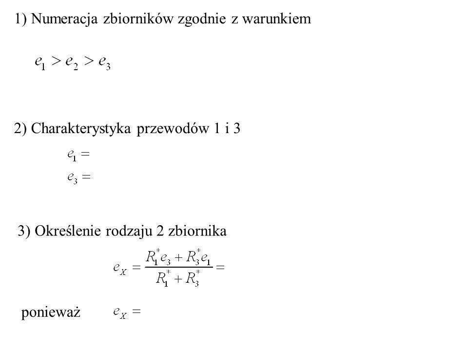 1) Numeracja zbiorników zgodnie z warunkiem