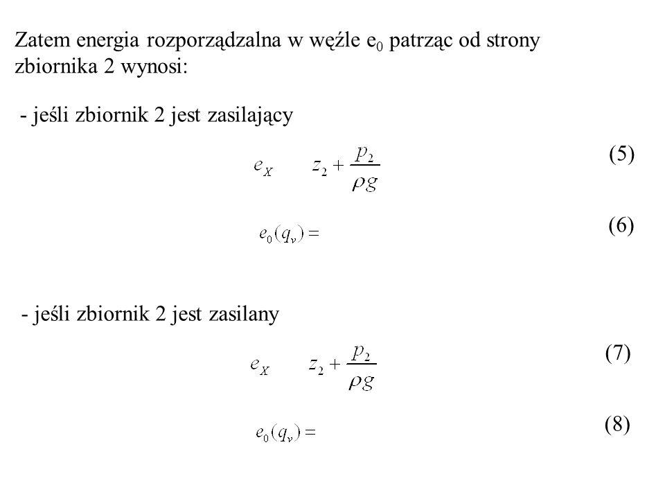 Zatem energia rozporządzalna w węźle e0 patrząc od strony zbiornika 2 wynosi: